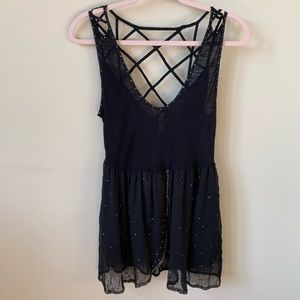 Free People sequin crisscrossed back tank #540